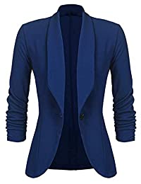 Kalin Women's 3/4 Ruched Sleeve Slim Suit Jackets Casual Business Work Blazer