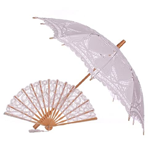 Topwedding Handmade Battenburg Lace Parasol Umbrella & Fan Set Party Decor, White (Theatrical Umbrella)