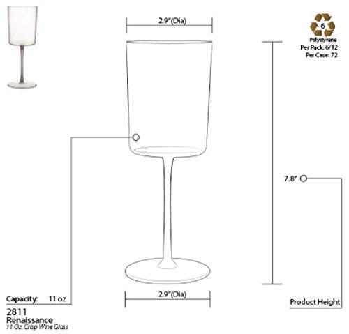 11 oz. Wine Glasses 72 Pieces Tall Elegant Disposable Plastic