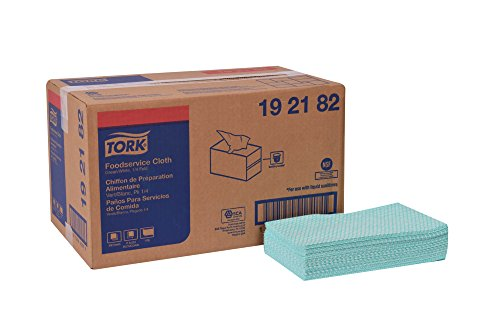Tork 192182 Foodservice Cloth, 1/4 Fold, 1-Ply, 11.5'' Width x 21'' Length, Green/White (Case of 1 Box, 600 Cloths per Box) by Tork