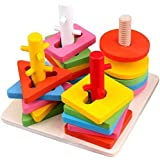 learn with fun- Wooden Educational Preschool Shape & Color Recognition Geometric Board Block Stack Shape Sorter Puzzle Toys