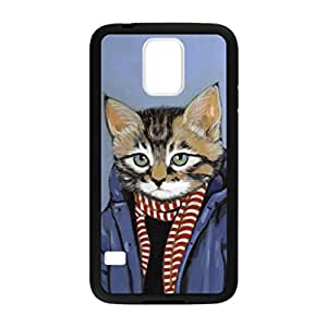 Hipster Cat Pattern Image Case Cover Hard Plastic Case for Samsung Galaxy S5 i9600 Regular