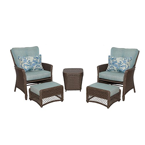 Hampton Bay Fallsview 5-Piece Wicker Conversation Set with Teal Olefin Cushions - Hampton Bay Wicker Furniture