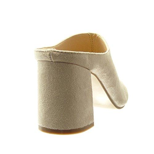 188f9b9e9b5424 ... Angkorly - Chaussure Mode Mule Sandale femme Talon haut bloc 8.5 CM -  Beige