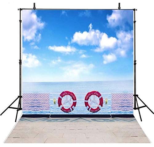 5X7FT Blue Sky White Clouds Cruise Ship Deck photo background Computer printed children kids party backdrop ()