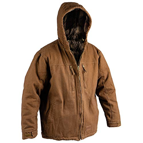 American Rebel Inc. Cartwright Concealed Carry Coat, Winter Coat for Men, Great for Camping, Fishing, Hunting, Zipper Hoodie, Fleece Jacket, Waterproof, Windproof Insulated Jacket (Brown, XL)