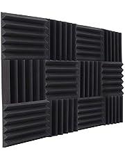 12 قطعة من ألواح الفوم الصوتية، عازلة للصوت، لوحات امتصاص الصوت