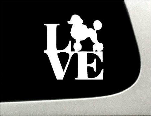 LOVE Poodle Dog Puppy Text Vinyl Car Sticker Symbol Silhouette Keypad Track Pad Decal Laptop Skin Ipad Macbook Window Truck Motorcycle (Puppy Symbol Text)