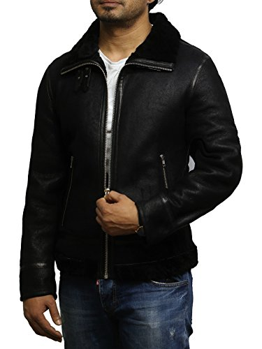 Brandslock Wwii Pilot Cockpit Mens Black Aviator Flying Sheepskin Shearling Inside Genuine Jacket Bomber B3 Wool Thick Leather BSpFBrRqw