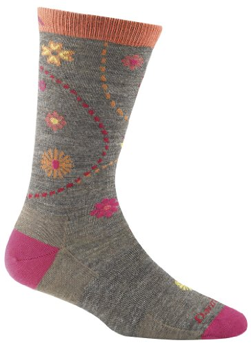 Darn Tough Vermont Womens Spring Garden Crew Light Cushion Hiking Socks Taupe Medium