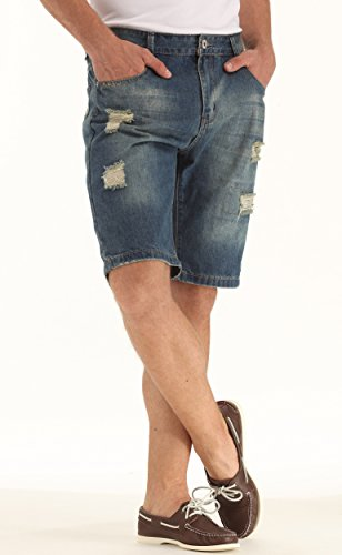 IWOLLENCE Men's Fashion Ripped Distressed Straight Fit Flat Denim Shorts With Hole Small Pockets Blue Green-US 32