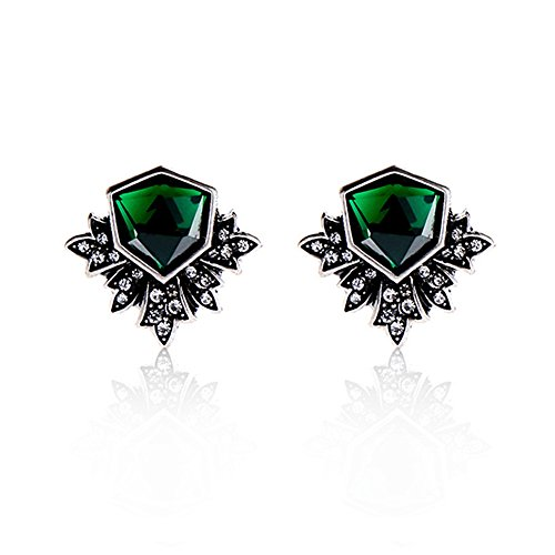 (Hanloud Vintage Emerald Green Stud Earrings Antique Flower Ear Stud Emerald Gemstones Crystal Earrings)