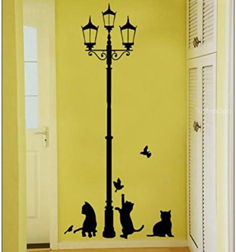 Runfon Fuloon Sticker mural pour chambre denfant Motif chats et route Noir