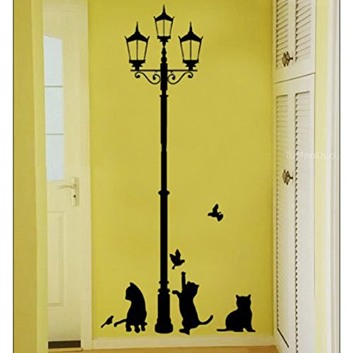 dise/ño para sal/ón dormitorio habitaci/ón de los Ni/ños 100/% nuevo y ultra alta calidad runfon Fuloon Gatos Negros y calle luz pared adhesivo de pared decorativo para pared