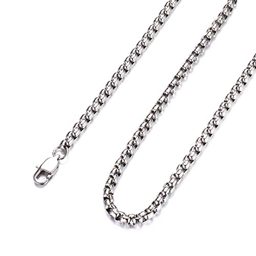 FEEL STYLE 3mm Stainless Steel Silver Rolo Necklace for Men Women Box Cable Chain Jewelry 30 ()