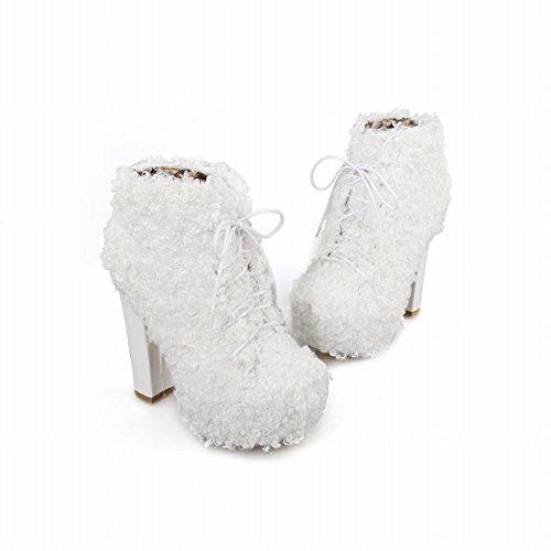 Carolbar Womens Lace Up Chic Cosplay Piattaforma Lanuginosa Alta Tacco Grosso Vestito Caviglia Stivali Bianchi