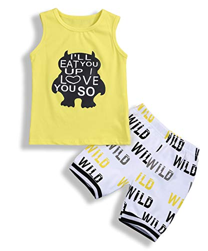 Monster Star - Younger star Baby Boys Summer Cotton Sleeveless T-Shirt Vest+ Short Pants Clothes Outfit Set, Yellow C, 18-24 Months