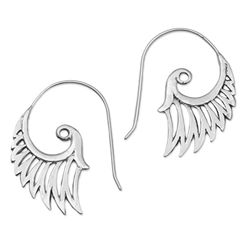 NOVICA Paisley Spiral .925 Sterling Silver Drop Earrings 'Winged Beauty'