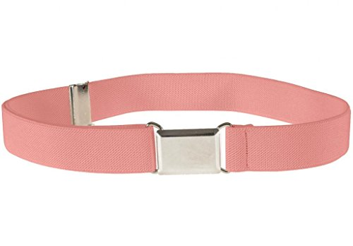 Buyless Fashion Kids And Baby Adjustable And Elastic Dress Stretch Belt With Silver Buckle - Peach
