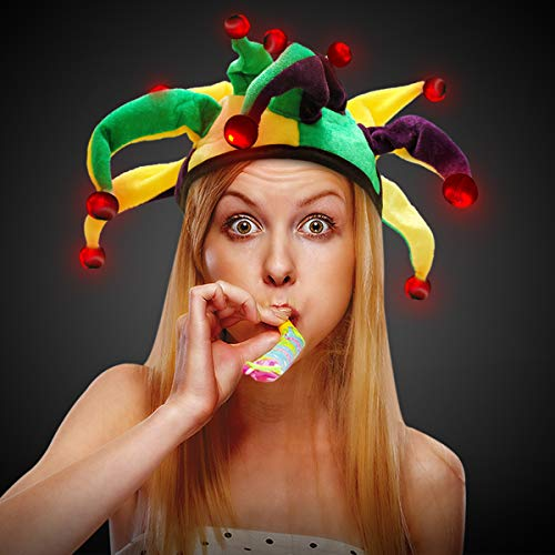 LED Light Up Mardi Gras Dragon Tail Jester Party Hat (Costume Jester Mardi Hats Gras)