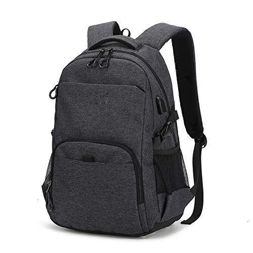 Laptop Backpack, Travel Waterproof Computer Bag for Women Men, Anti-Theft School College Bookbag, TSA Friendly Business Fashion Backpacks with USB Charging Port Holds 15.6-inch Laptop&Notebook, ()