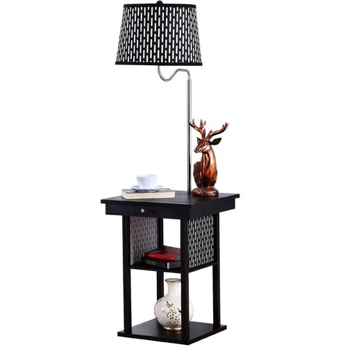 Brightech - Madison Floor Lamp with Built-in Two-Tier Black Table with Open Display Space - Outfitted with 2 USB Ports and US Standard Outlet for Electronics and Mobile Devices - Patten Shade (Lamp Tier 2)