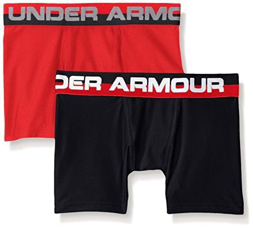 (Under Armour Boys' Original Series Boxerjock 2-Pack, Red/Black, Youth Medium)
