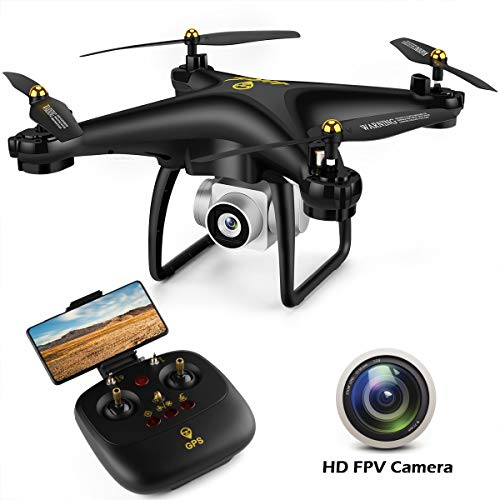 JJRC GPS Drone with Camera for Adults, Quadcopter with Auto Return Home, Adjustable Wide-Angle Camera, Follow Me, Altitude Hold, Tap Fly Functions, Includes 2 Batteries, Long Control Range, Black from JJRC