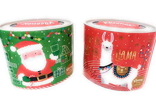 KLeenex Facial Tissue Christmas Holiday Decorator Packages Santa and Llama It's The Most Wonderful Time, Oval, 2 Packs, Bundle Set