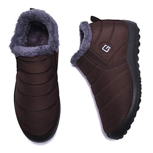 Ginjang Women Winter Snow Boots Warm Ankle Boots Anti-Slip Waterproof Winter Shoes Slip On Booties Sneakers (37/Coffee)