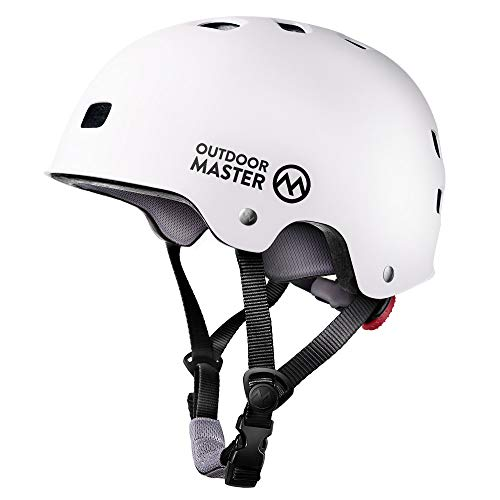 OutdoorMaster Skateboard Helmet - CPSC Certified Lightweight, Low-Profile Skate & BMX Helmet with Removable Lining - 12 Vents Ventilation System - for Kids, Youth & Adults - L - White