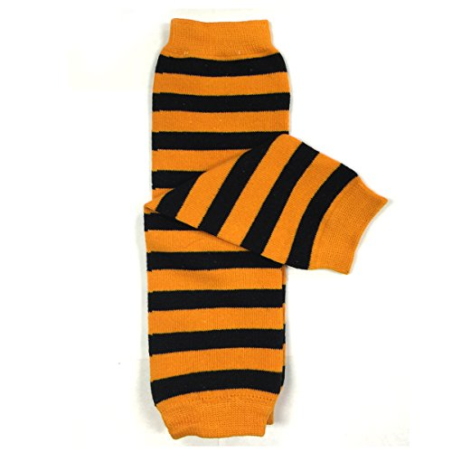 Wrapables Colorful Baby Leg Warmers, Stripes Orange and ()