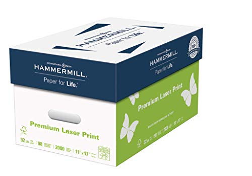 Hammermill Paper, Premium Laser Print Paper, 11 x 17 Paper, Ledger Size, 32lb Paper, 98 Bright, 4 Reams / 2,000 Sheets (104653C) Acid Free Paper