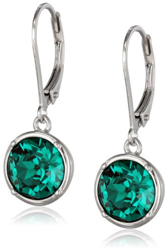 Sterling Silver Emerald Green Round Dangle Earrings Made with Swarovski ()