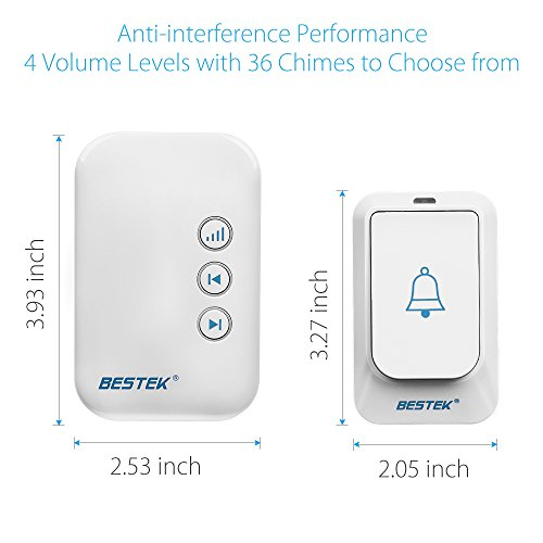 BESTEK Wireless Doorbell, Doorbell Kit Operating at over 500-feet Range with 2 Remote Buttons and 1 Plugin Receiver, LED Flash Lights, 36 Chimes for Home and Office (FCC Certification)-White by BESTEK (Image #4)