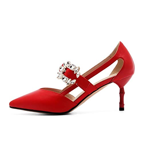 Heel Black Black amp; Red Comfort Spring Women's Leather Shoes Nappa Summer ZHZNVX Heels Stiletto xPvqTSwBP