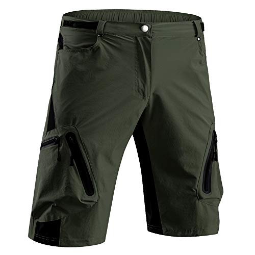 Cycorld Mountain-Biking-Shorts-MTB-Cycling Short for Mens No Padded (Army Green Without Padded, M(Waist:28.5