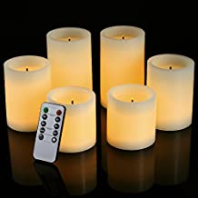 "Pandaing Flameless Flickering LED Candles with 10-Key Remote Control Timer Classic Pillar Optical Fiber Wick Real Wax Candles, Battery Powered, Ivory Color, 3""x3""/4""/5"", Set of 6"