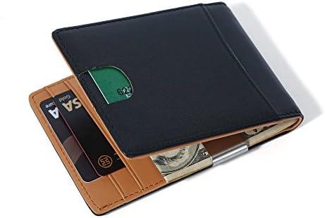 Echtes Leder Geldbeutel mit RFID Schutz Kartenclip//Portmonee//Kartenetui//Geld-Clip Ultra d/ünnes Portemonnaie Herren Geldb/örse mit Geldklammer Schwarz