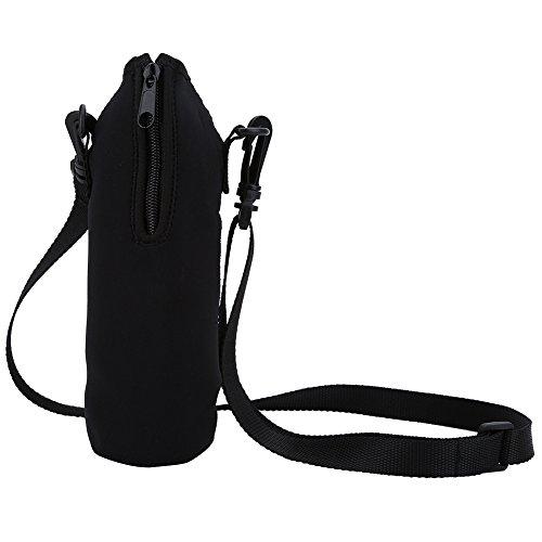 Filfeel Water Bottle Carrier,Insulated Neoprene Water Bottle Holder Bag Case Pouch Cover 500ML Adjustable Shoulder Strap, Great for Stainless Steel and Plastic Bottles, Sport and Energy Drinks(Black)