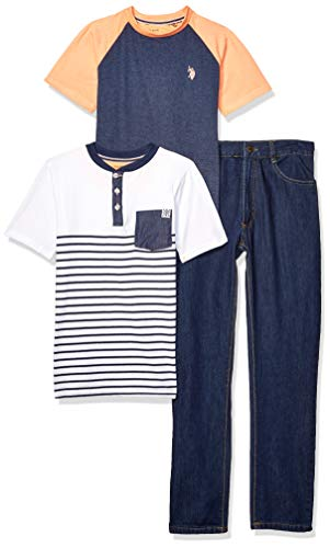 (U.S. Polo Assn. Boys' Big 3 Piece Short Sleeve T-Shirt, Henley, and Jean Set, Indigo Blue Heather 12)