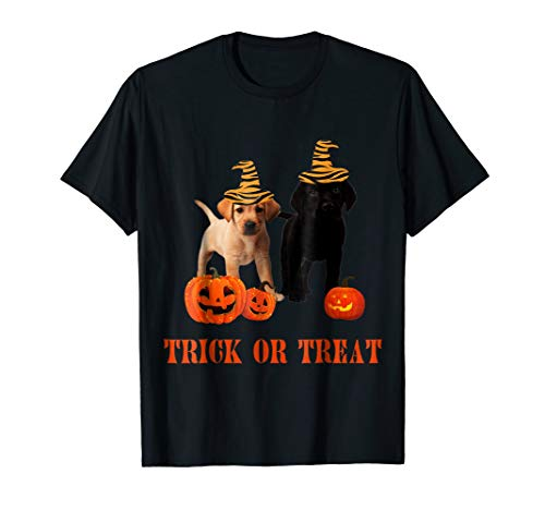 Chocolate Yellow Lab Halloween Puppy T-shirt Trick Or -