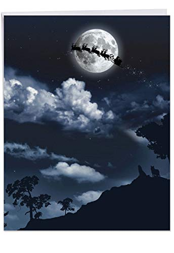 Sleigh Moon Vert' Jumbo Xmas Card with Envelope 8.5 x 11 Inch - Santa Claus, Reindeers, Sleigh Shadow Silhouette Design Stationery Set for Personalized Happy Holidays Message and Greeting J6713BXSG -