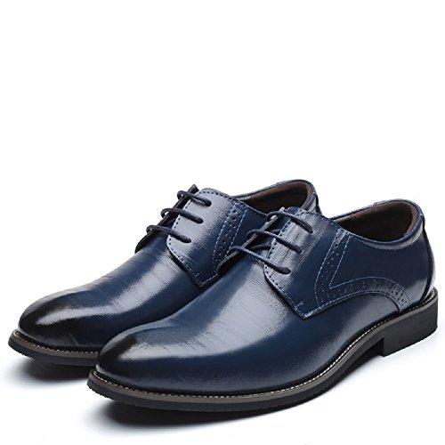 Vestir Amarillo Hombre Azul Derby 48EU Zapatos Negro Boda Calzado Azul Negocios Oxford Brogue Marron Rojo 37 Cuero Cordones qx6U0A