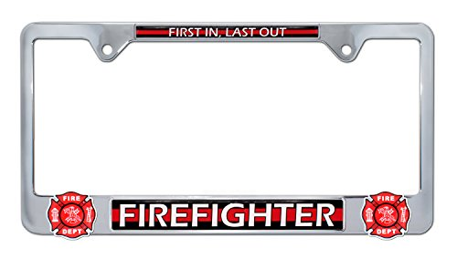 Elektroplate Firefighter First in Last Out 3D License Plate Frame ()