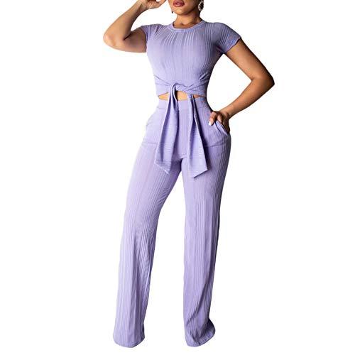 ECHOINE Women's Sexy 2 Piece Outfits - Slim Crop Top Shirts Wide Leg Pants Set Bodycon Jumpsuit Purple S