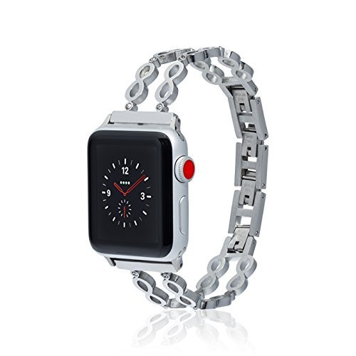fitjewels Infinity Bangle for Apple Watch Band 38/40mm - Silver - Stainless Steel Metal Replacement Wristband for Apple Watch Nike+, Series 4, Series 3, Series 2, Series 1 More Colors ()