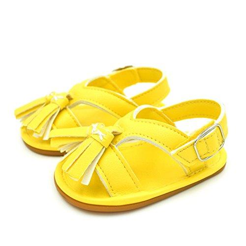 Sandalias De Bebe,BOBORA Prewalker Zapatos Primeros Pasos Para Bebe Classic Simple Flecos Sandalias De Goma De Bebe amarillo