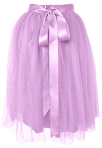 (Dancina Women's Knee Length Tutu A Line Layered Tulle Skirt Regular (Size 2-18) Lavender)