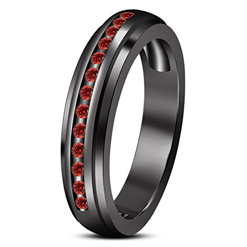 Red Garnet Men's Wedding Engagement Ring in Black Rhodium Plated 925 Silver From TVS-JEWELS (14)